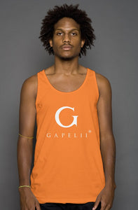 Gapelii Cotton Tank Top Orange (Logo White)