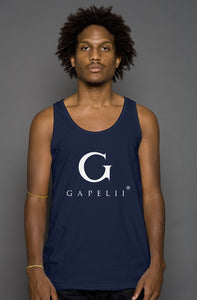 Gapelii Cotton Tank Top Navy (Logo White)