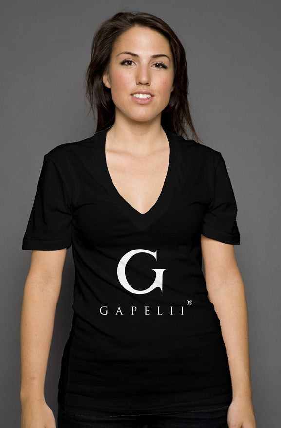 Gapelii womens deep v neck black (Logo White)