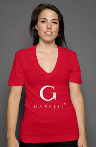 Gapelii womens deep v neck red (Logo White)