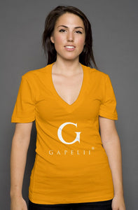 Gapelii womens deep v neck orange (Logo White)