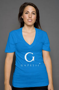 Gapelii womens deep v neck neon (Logo White)