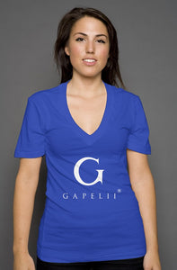 Gapelii womens deep v neck royal (Logo White)