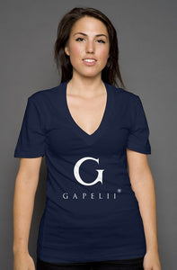 Gapelii womens deep v neck navy (Logo White)