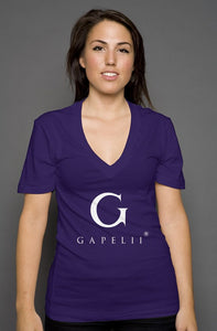 Gapelii womens deep v neck purple (Logo White)