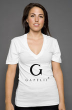 Load image into Gallery viewer, Gapelii womens deep v neck White (Logo Black)