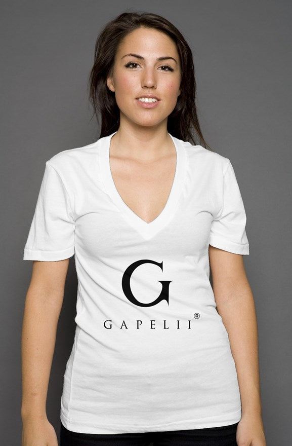 Gapelii womens deep v neck White (Logo Black)