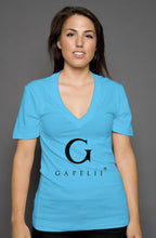 Load image into Gallery viewer, Gapelii womens deep v neck turquoise  (Logo Black)