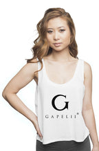 Load image into Gallery viewer, Gapelii Womens flowy boxy tank White (Logo Black)