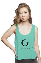 Load image into Gallery viewer, Gapelii Womens flowy boxy tank mint (Logo Black)