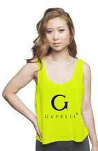 Load image into Gallery viewer, Gapelii Womens flowy boxy tank Neon Yellow (Logo B