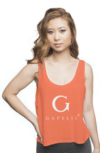 Load image into Gallery viewer, Gapelii Womens flowy boxy tank coral (Logo White)