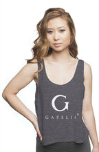 Load image into Gallery viewer, Gapelii Womens flowy boxy tank dark grey (Logo whi