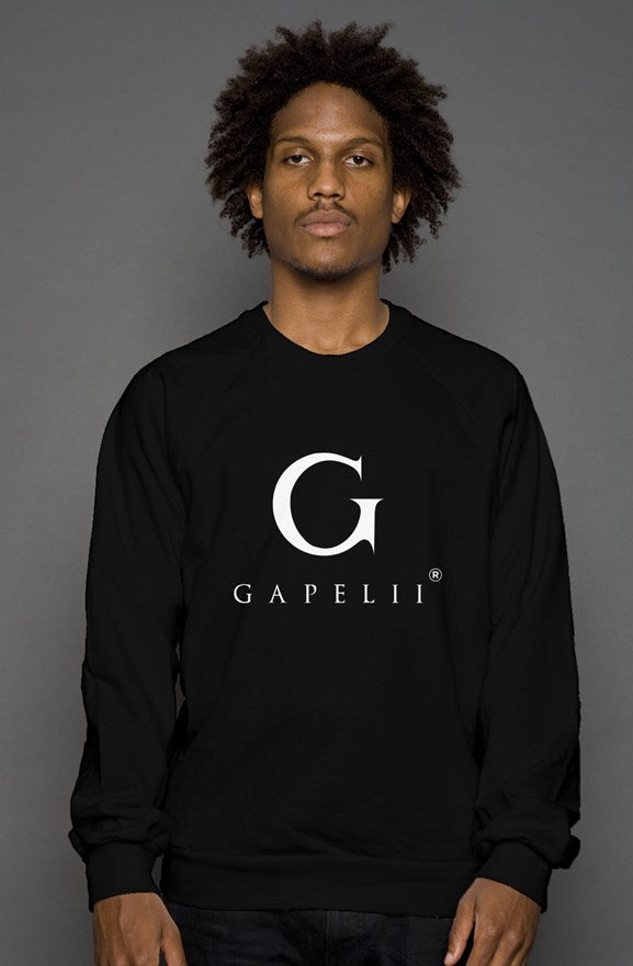 Black Crew Neck Sweatshirt (White Logo)