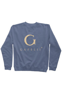 Gapelii Blue Pigment Dyed Crew Neck (Cream Logo)