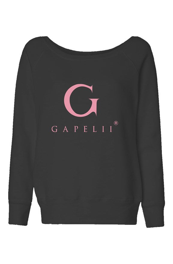 Womens Black Wide Neck  Sweatshirt (Logo Pink)