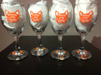 Cat Lover Wine Glasses with Wine Charms