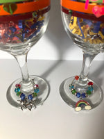 PRIDE Wine Glass Set with PRIDE Wine Glass Charms