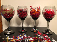 Set of Four Sports Mom Glasses with Wine Charms