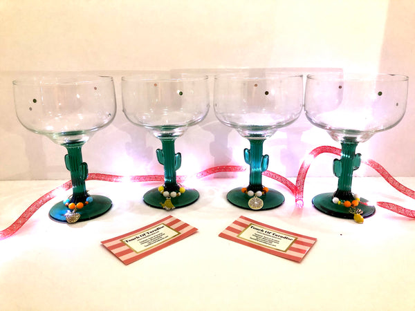 Cactus Margarita Glasses with Custom Wine Charms