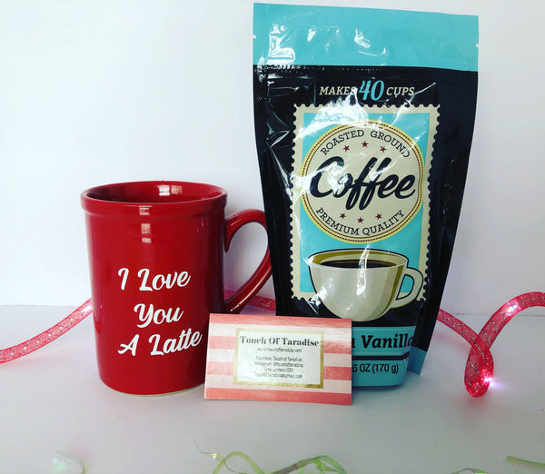 """I Love You A Latte"" Coffee Mug With A Bag Of Coffee"