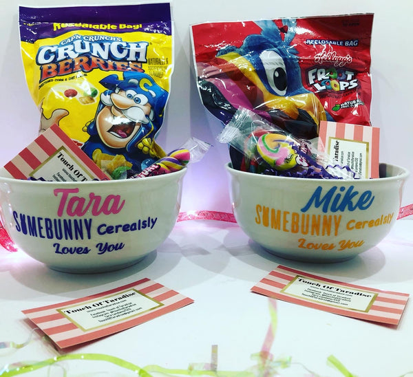 Personalized Easter Cereal Bowls with Cereal Included