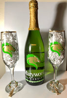 Personalized Champagne Bottle with Customized Champagne Glasses