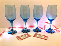 Ocean Blue Beach Theme Wine Glasses and Charms