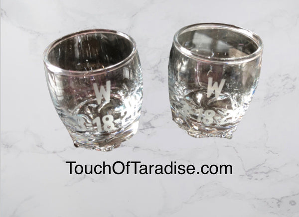 Personalized Initial Shot Glasses (etched glass)