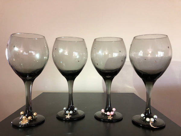 The Sun Moon And Stars Wine Glasses and Charms