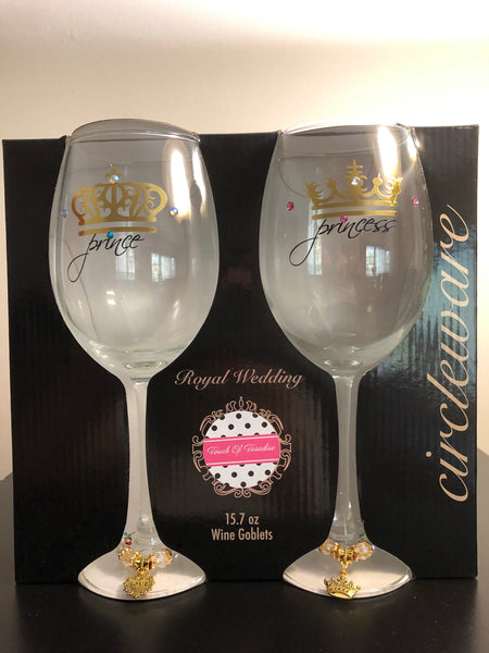 Prince & Princess Stemmed Wine Glass Box Set