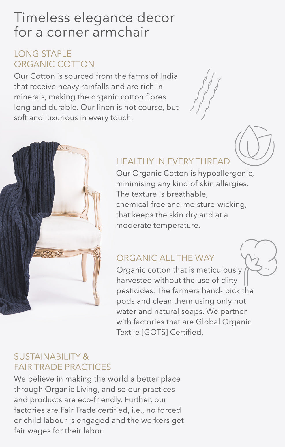 Cable Knit Organic Cotton Throws