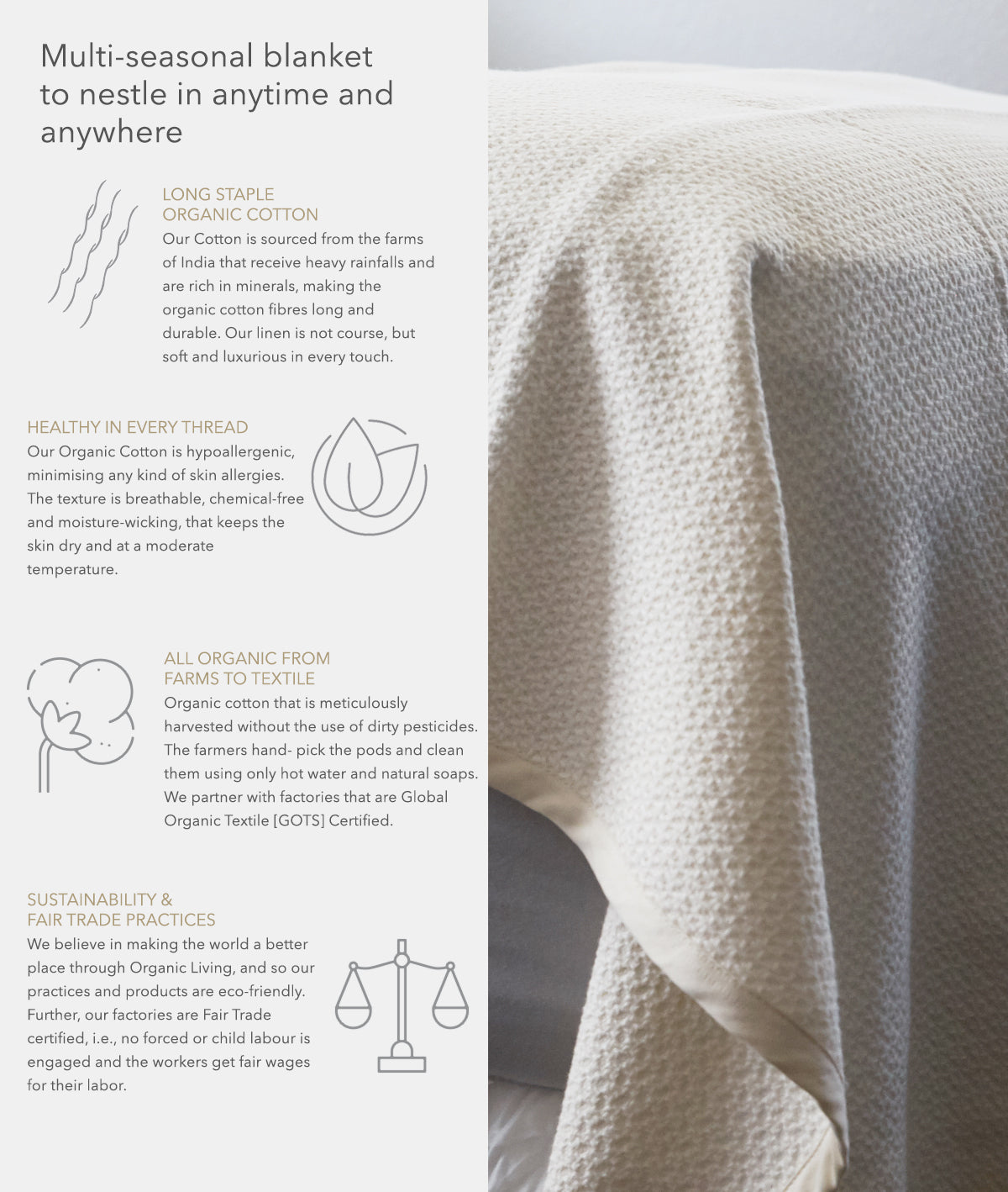 Chunky Knit Organic Cotton Throws