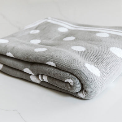Organic Knitted Polka Dot Throw