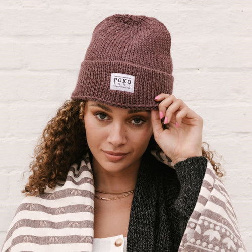 Alpaca Fisherman Toque- Dusty Rose %Women's Clothing Boutique Collingwood%