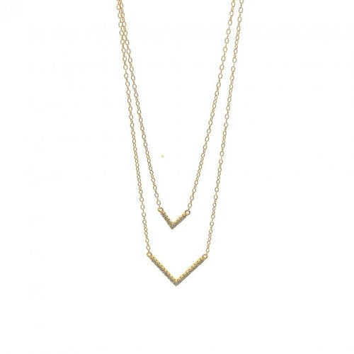 Double V Layering Necklace %Women's Clothing Boutique Collingwood% Necklace