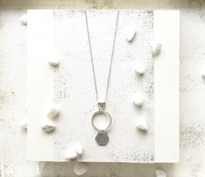Small Silver Hexagon and Circle Necklace %Women's Clothing Boutique Collingwood% Earrings