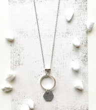 Load image into Gallery viewer, Small Silver Hexagon and Circle Necklace %Women's Clothing Boutique Collingwood% Earrings