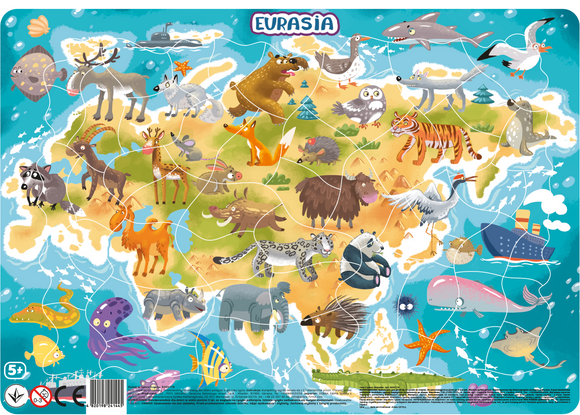 Puzzle Cu Animalute din Europa Si Asia (53 Piese)
