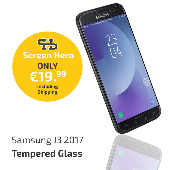 Samsung Galaxy J3 2017 Tempered Glass Screen Protector from Screen Hero - ScreenHero_ie