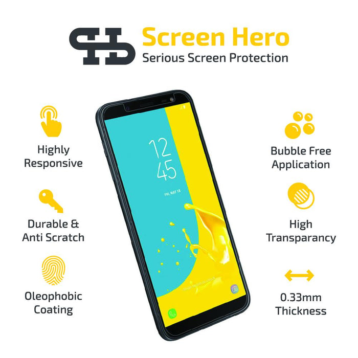 Samsung Galaxy J6 2018 Tempered Glass Screen Protector from Screen Hero - ScreenHero_ie