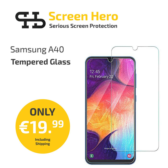 Samsung Galaxy A40 Tempered Glass Screen Protector from Screen Hero - ScreenHero_ie