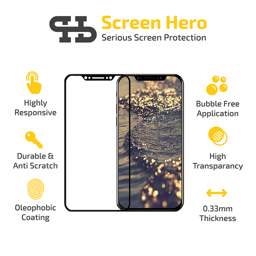 iPhone 11 Pro , iPhone X / XS Tempered Glass Screen Protector - Black - Screen Hero - ScreenHero_ie