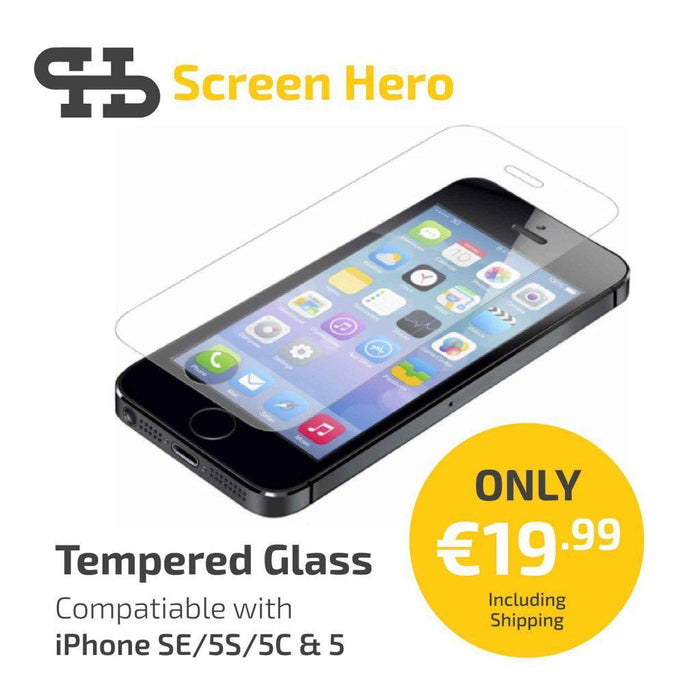 iPhone SE / 5C / 5s Tempered Glass Screen Protector from Screen Hero - ScreenHero_ie