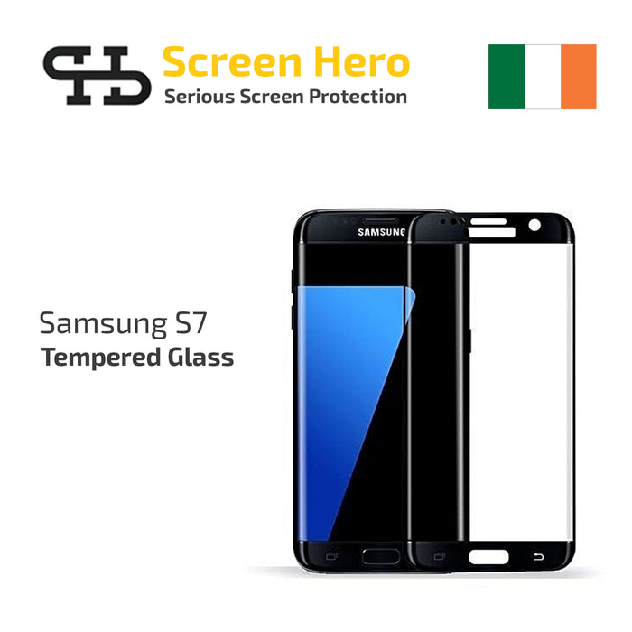 Samsung Galaxy S7 Tempered Glass - Black Screen Protector from Screen Hero - ScreenHero_ie