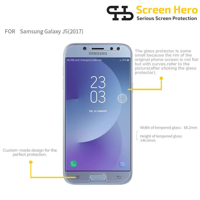 Samsung Galaxy J5 2015 Tempered Glass Screen Protector from Screen Hero - ScreenHero_ie