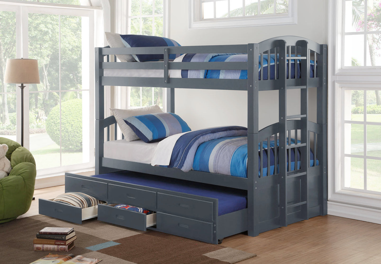 SINGLE/SINGLE BUNK BED WITH TRUNDLE & DRAWERS