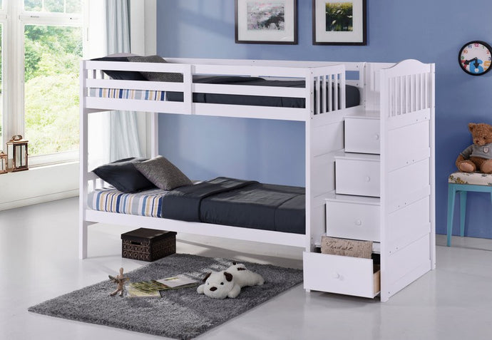 Single over Single Bunk Bed With Stairs Comes With Double On Bottom Option