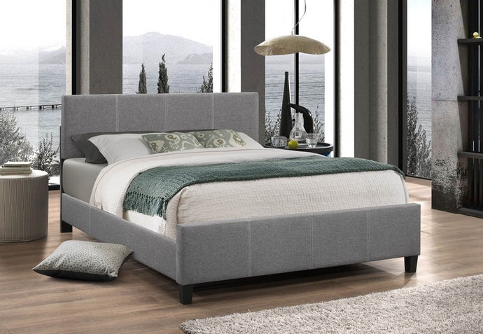 Platform Bed Light Grey Fabric Finish