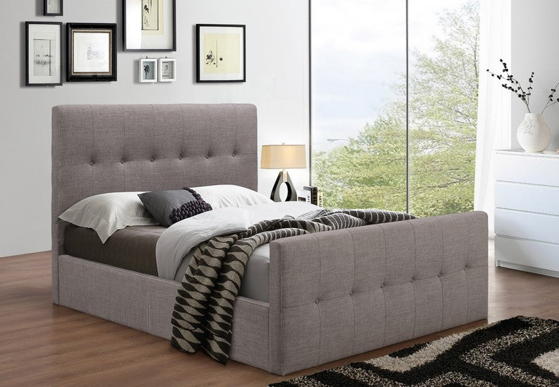 Platform Bed Grey Tuffed Fabric